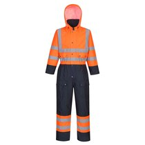 Portwest S485 Orange /Navy Thermal Hooded Coverall