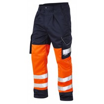 Leo CT01 Bideford Orange/Navy Cargo Trousers Tall Leg