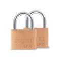 Squire LP10T Brass Padlock Twin Pack Keyed Alike 50mm