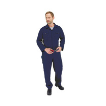 Endurance Navy Blue Polycotton Stud Front Coverall