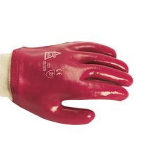 KeepSAFE Pvc Fully Coated K/Wrist Glove Red