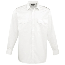Mens Long Sleeved Pilot Shirt White PR210