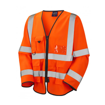 Hi-Vis Orange Zip Front Long Sleeve Waistcoat