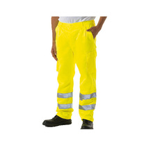 KeepSAFE Hi-Vis Yellow Polycotton Cargo Trousers Reg Leg