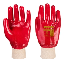 Portwest A400 Red PVC Fully Coated Knitted Wrist Gloves